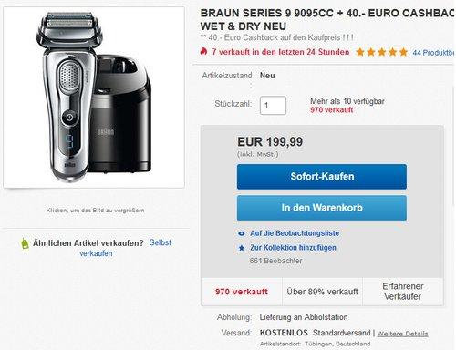 Braun Series 9 9295 CC Elektrischer Rasierer Technologie Wet & Dry - jetzt 16% billiger