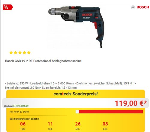 Bosch Professional GSB 19-2 RE Schlagbohrmaschine - jetzt 9% billiger