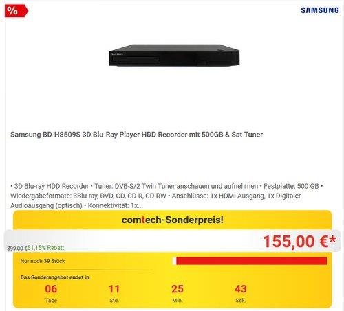 Samsung BD-H8509S HD-Recorder und Satelliten Receiver mit Twin Tuner und 3D Blu-ray Player - jetzt 18% billiger