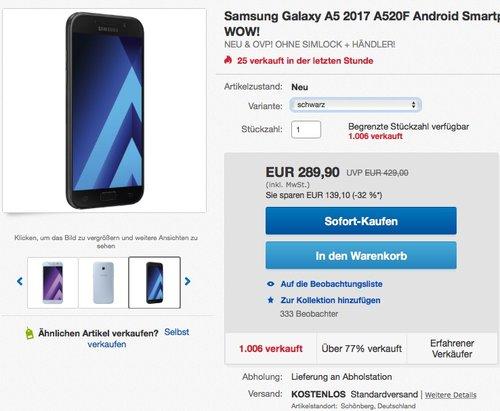 Samsung Galaxy A5 (2017) 32 GB Speicher - jetzt 6% billiger