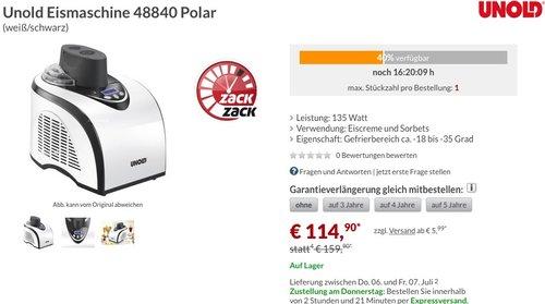 Unold Eismaschine 48840 Polar - jetzt 17% billiger