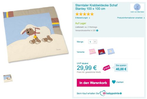 Sterntaler 9101561 Krabbeldecke Stanley - jetzt 39% billiger