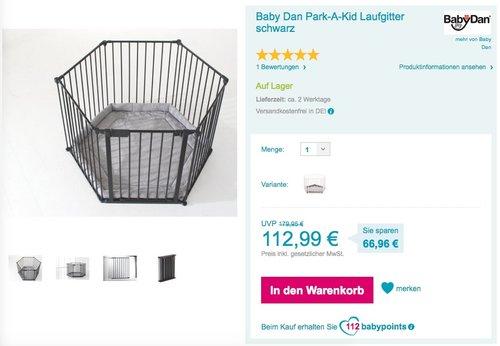 Baby Dan Park-A-Kid Laufgitter - jetzt 9% billiger