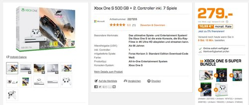 MICROSOFT Xbox One S 500GB Konsole - Forza Horizon 3 Bundle + Spiele - jetzt 44% billiger