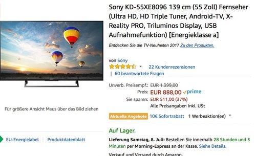 Sony KD-55XE8096 139 cm (55 Zoll) Fernseher - jetzt 11% billiger
