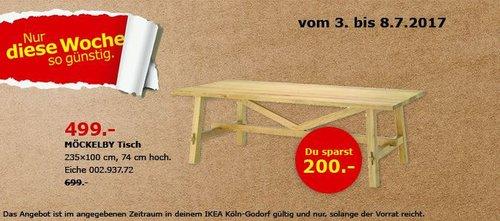 IKEA MÖCKELBY Tisch, 235x100 cm, 74 cm hoch, eiche - jetzt 29% billiger