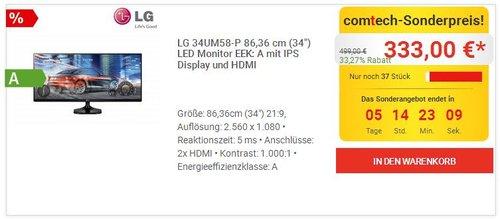 "LG 34UM58-P 86,36 cm (34"") LED Monitor - jetzt 10% billiger"