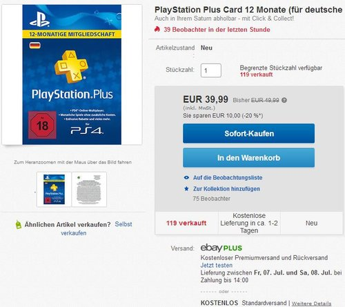 PlayStation Plus Card 12 Monate - jetzt 18% billiger