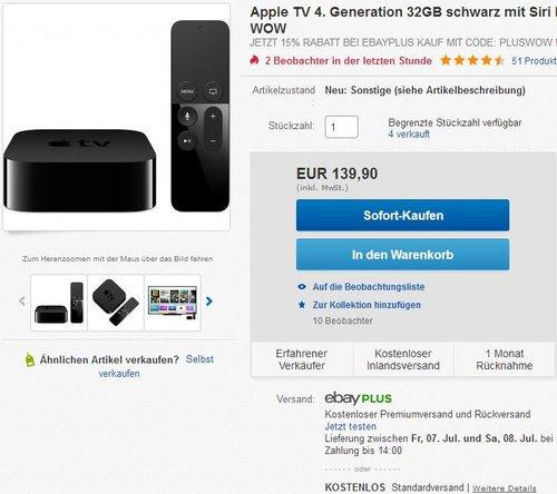 Apple TV 4. Generation 32GB schwarz mit Siri Remote Fernbedienung - jetzt 15% billiger