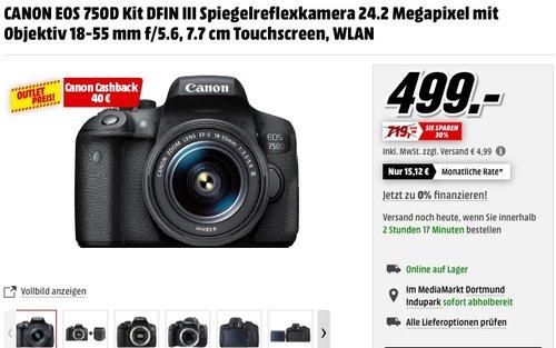 Canon EOS 750D Kit Objektiv 18-55 mm f/5.6 - jetzt 17% billiger