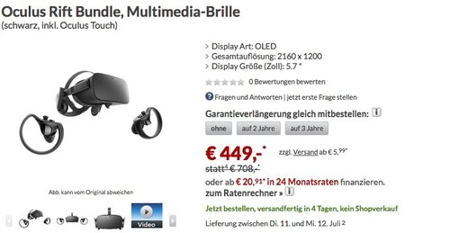 Oculus Rift Bundle - jetzt 23% billiger