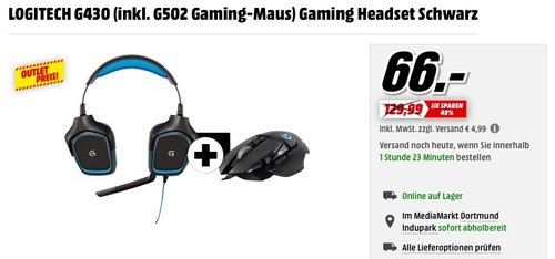 LOGITECH G430 Gaming Headset inkl. LOGITECH G502 Gaming-Maus - jetzt 33% billiger