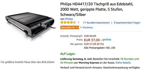Philips HD4417/20 Tischgrill aus Edelstahl, 2000 Watt, gerippte Platte, 5 Stufen, Schwarz/Silber - jetzt 46% billiger