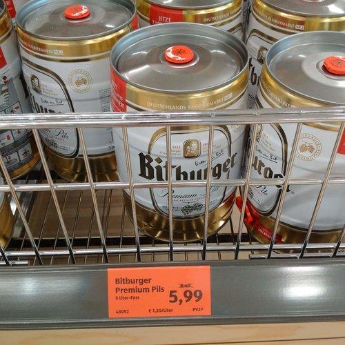 Bitburger Premiun Pils, 5 Liter-Fass - jetzt 29% billiger