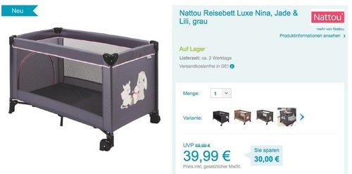 Nattou Reisebett grau - jetzt 20% billiger
