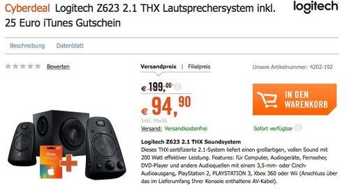 Logitech Z623 Soundsysteme 2.1 Stereo-Lautsprecher THX (mit Subwoofer) - jetzt 14% billiger