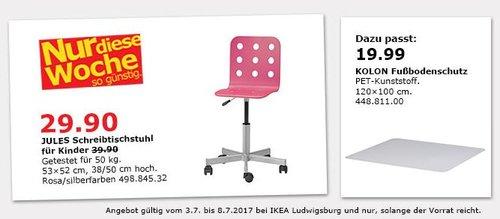 IKEA  JULES Schreibtischstuhl für Kinder, bis 50 kg, rosa/ silberfarben - jetzt 25% billiger