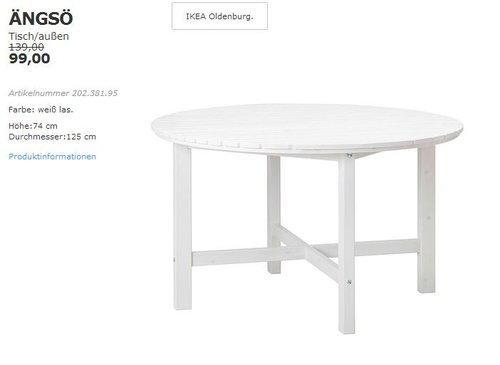 IKEA  ÄNGSÖ Tisch/außen, 125 cm, 74 cm hoch, weiß - jetzt 29% billiger