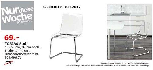 IKEA  TOBIAS Stuhl, 55x65 cm, 82 cm hoch, transparent, verchromt - jetzt 13% billiger