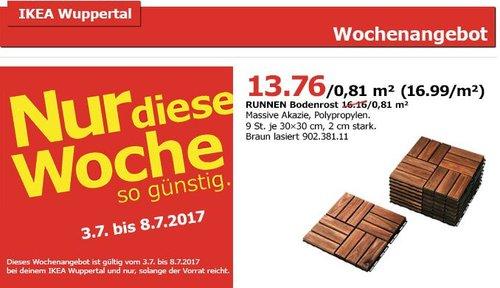 IKEA  RUNNEN Bodenrost/außen, massive Akazie - jetzt 15% billiger