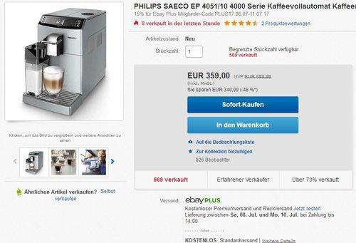 Philips SAECO EP4050/10 Kaffeevollautomat (CoffeeSwitch, Milchkaraffe, AquaClean) silber - jetzt 25% billiger