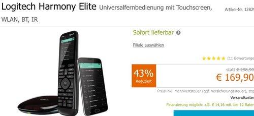 Logitech Harmony Elite - Touchscreen- Fernbedienung für Home Entertainment schwarz - jetzt 11% billiger