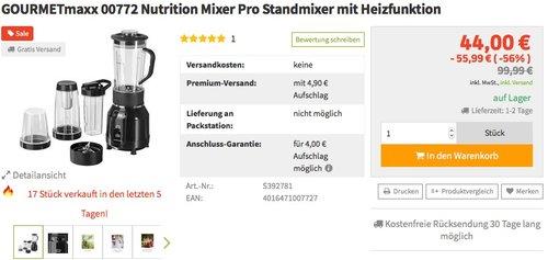 GOURMETmaxx 00772 Nutrition Mixer Pro Standmixer mit Heizfunktion - jetzt 27% billiger