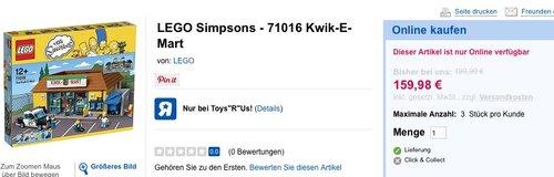 LEGO Simpsons 71016 - Kwik-E-Mart - jetzt 18% billiger