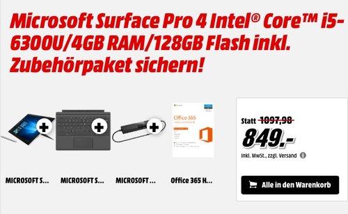 Microsoft Surface Pro 4 Intel Core i5-6300U/4GB RAM/128GB plus Zubehörpaket - jetzt 15% billiger