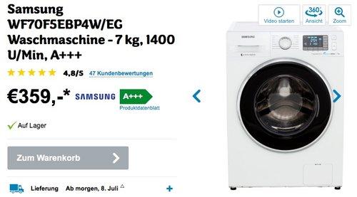 Samsung WF70F5EB Waschmaschine / A+++ / Frontlader / 7 kg - jetzt 22% billiger