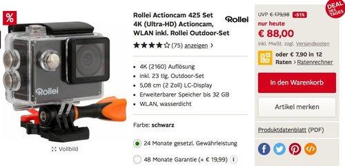 Rollei Actioncam 425 - WiFi Action-Camcorder mit 4K/2.7K Videoauflösung und Full HD - jetzt 9% billiger