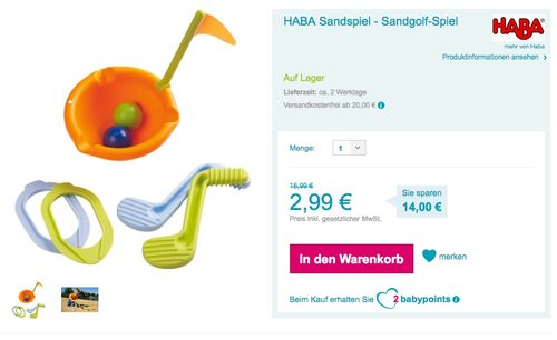 HABA 301333 - Sand-Golfspiel - jetzt 38% billiger