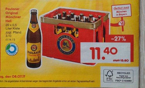 Paulaner Original Münchener Hell, Ka. 20 x 0,5 -L-Fl. - jetzt 28% billiger
