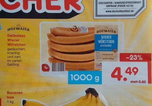 Hofmaier Delikatess Wiener Würstchen 1000g - jetzt 23% billiger