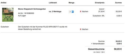 Merxx 2x Klappstuhl Schlossgarten - jetzt 56% billiger