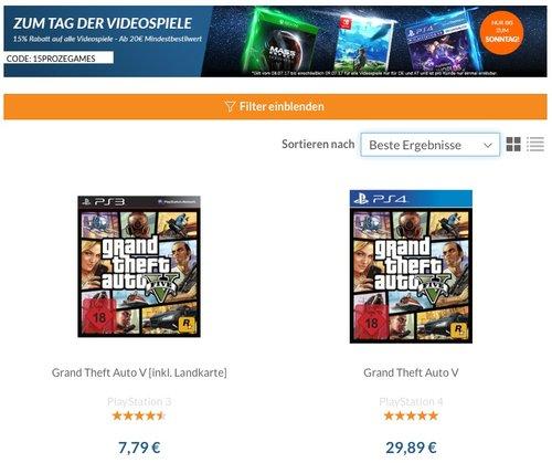 15 % Rabatt auf gebrauchte Videospiele bei rebuy.de (Bsp. GTA5 für ps4) - jetzt 15% billiger
