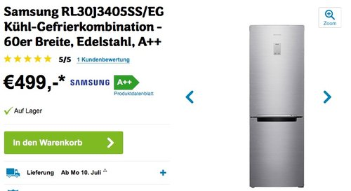 Samsung RL30J3405SS/EG Kühl-Gefrier-Kombination - jetzt 1% billiger