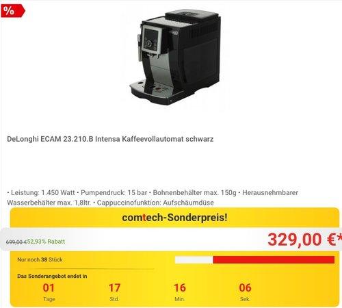 DeLonghi ECAM 23.210.B Kaffeevollautomat - jetzt 11% billiger