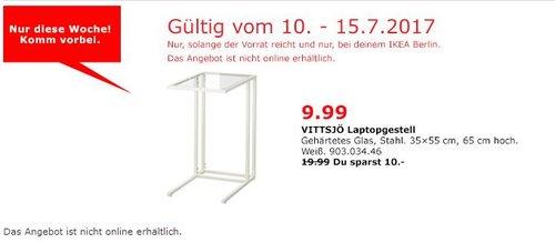 IKEA VITTSJÖ Laptopgestell, 35x55 cm, 65 cm hoch, weiß, Glas - jetzt 50% billiger