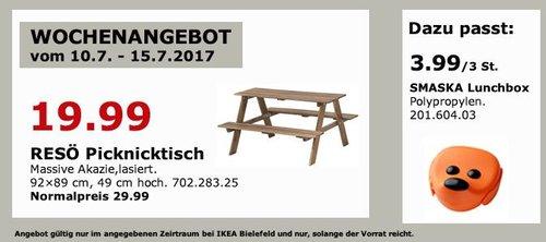 IKEA  RESÖ Picknicktisch für Kinder, massive Akazie lasiert, 92x89 cm, 49 cm hoch - jetzt 33% billiger
