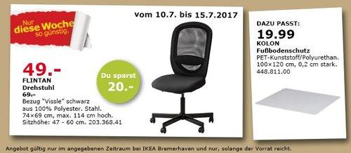IKEA  FLINTAN Drehstuhl, 74x69 cm, 114 cm hoch, Vissle schwarz - jetzt 29% billiger