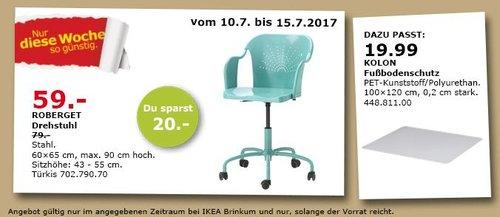 IKEA  ROBERGET Drehstuhl, 60x65 cm, Sitzhöhe: 43-55 cm, türkis - jetzt 25% billiger