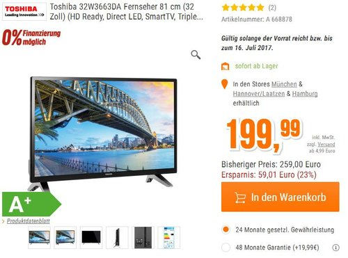 Toshiba 32W3663DA Fernseher 81 cm (32 Zoll) HD Ready, Smart TV - jetzt 14% billiger