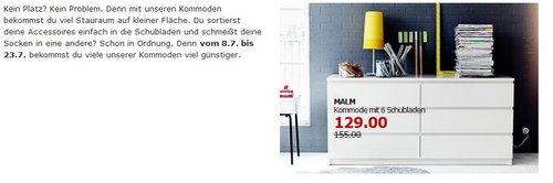 IKEA Kommoden im Angebot (Bsp. MALM Kommode mit 6 Schubladen, weiß) - jetzt 17% billiger