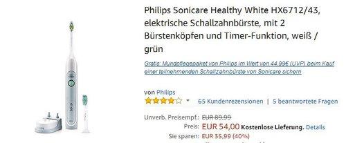 Philips Sonicare Healthy White HX6712/43 elektrische Schallzahnbürste - jetzt 25% billiger