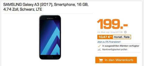 Samsung Galaxy A3 (2017) Smartphone (4,7 Zoll), 16 GB Speicher - jetzt 13% billiger
