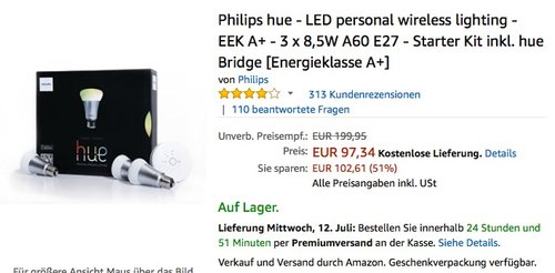 Philips hue - LED personal wireless lighting 3 x 8,5W A60 E27 - Starter Kit - jetzt 34% billiger