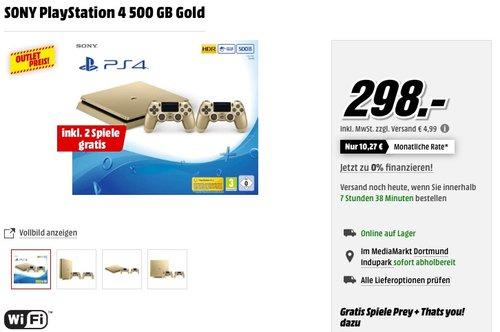 PlayStation 4 - Konsole (500GB, gold, slim) inkl. 2. DualShock Controller + 2 Spiele - jetzt 15% billiger
