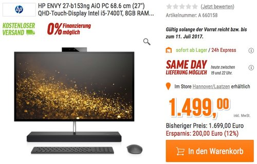 HP ENVY (27-b153ng) 68,6 cm (27 Zoll / QHD-IPS Touchscreen) All-in-One Desktop PC - jetzt 5% billiger