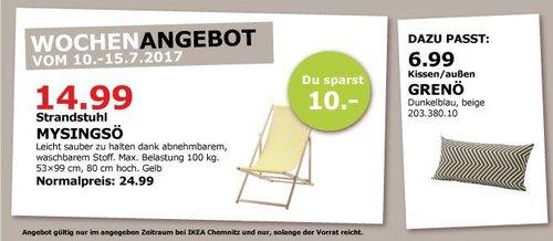 IKEA  MYSINGSÖ Strandstuhl, 53x99 cm, 80 cm hoch, belastung bis 100 kg, gelb - jetzt 40% billiger